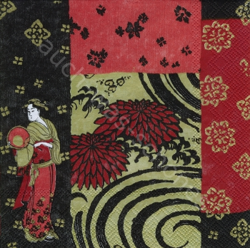 Serviette - Geisha -Tradition - Frau - Asien - Fächer - af031