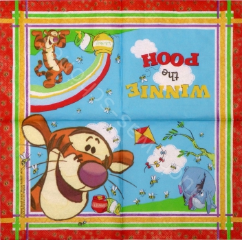 Serviette - Disney - Winnie the Pooh - Tigger - Comic - ganzes Motiv - co074