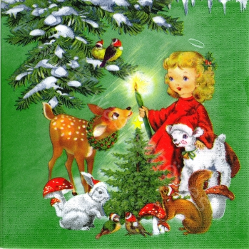 Serviette - Engel - Tiere des Waldes - angel & friends - ef060