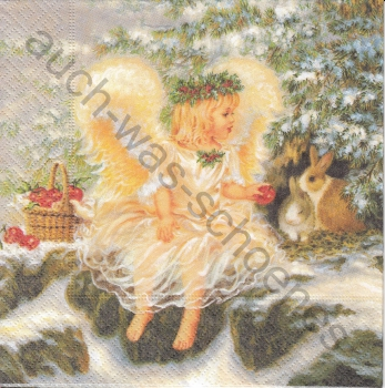 Serviette - Engel im Wald - Hasen - lovely angel - ef170