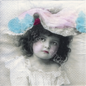 Serviette - Nostalgie - Mädchen - girl with hat - Foto - ki032