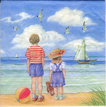 Serviette - Kinder am Strand - Meer - Boote - Teddy - Möwen - seaside - la032
