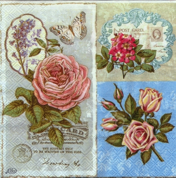 Serviette - Rosen - Hortensien - Schrift - Lyrical Flower - ro065