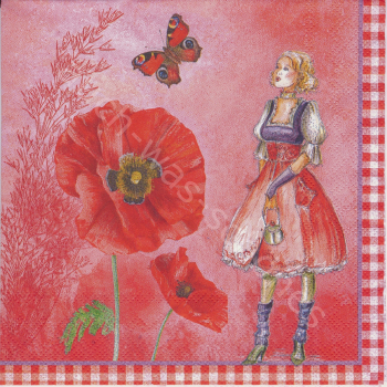 Serviette - Red Fashion - Lady - Frau - Schmetterling - Klatschmohn - rot - vv084