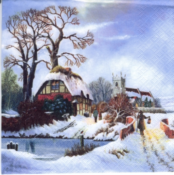 Winterlandschaft mit Haus - Old Winter Town - wi026