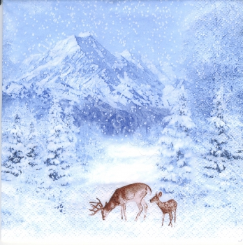 Winter - Landschaft - Rehe - Berge - Tannen - Winter Mountains - wi027