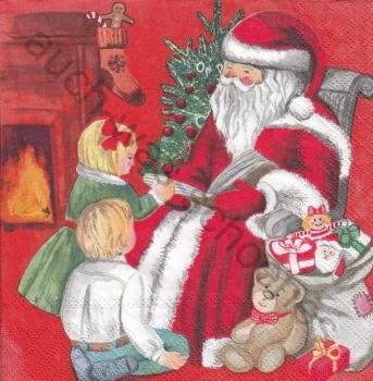 Teddy Weihnachten.Serviette Santa Claus Kinder Teddy Weihnachten Spielzeug Wn423