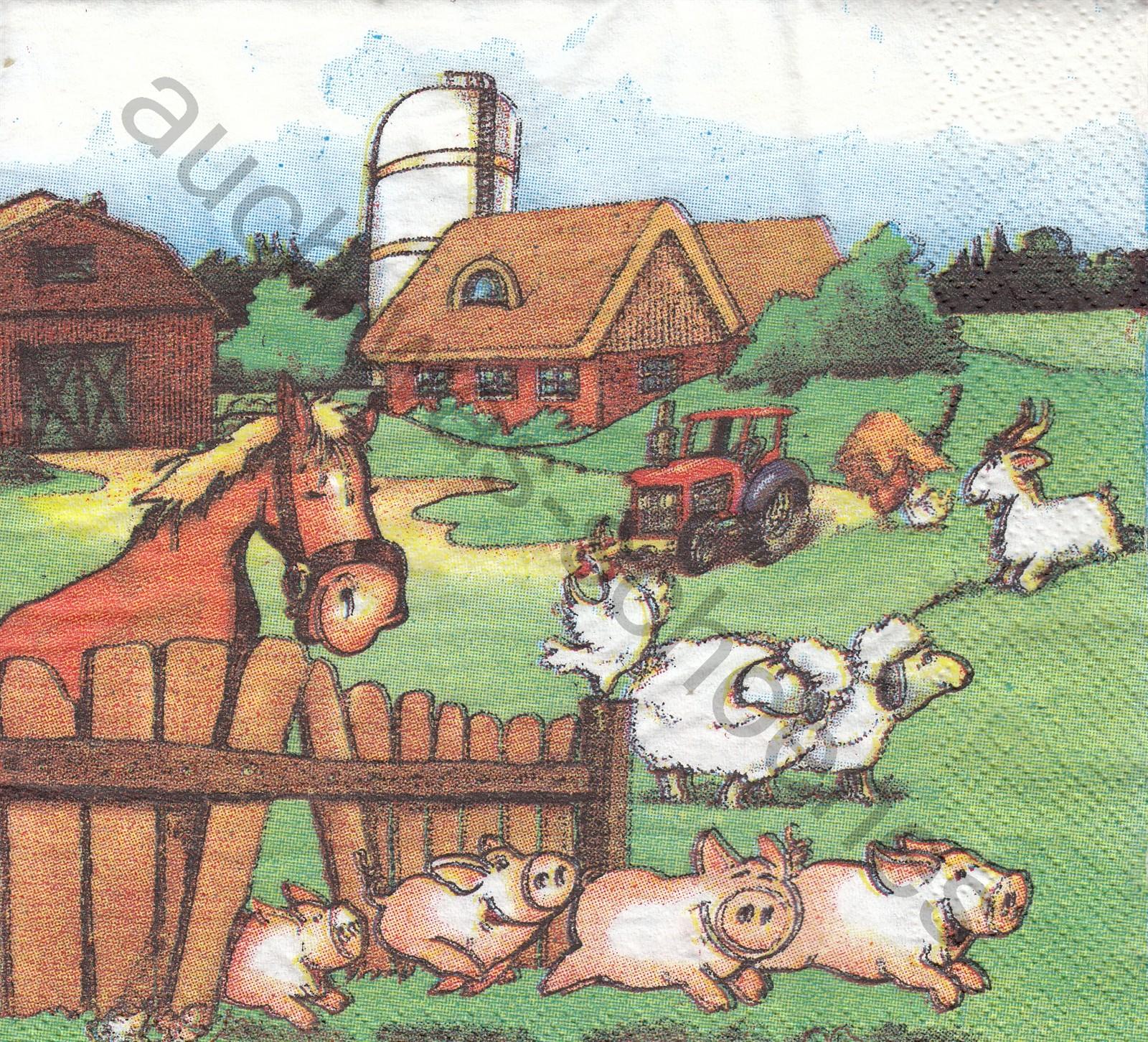 Servietten Basteln Sammeln Bauernhof Katze Schweine