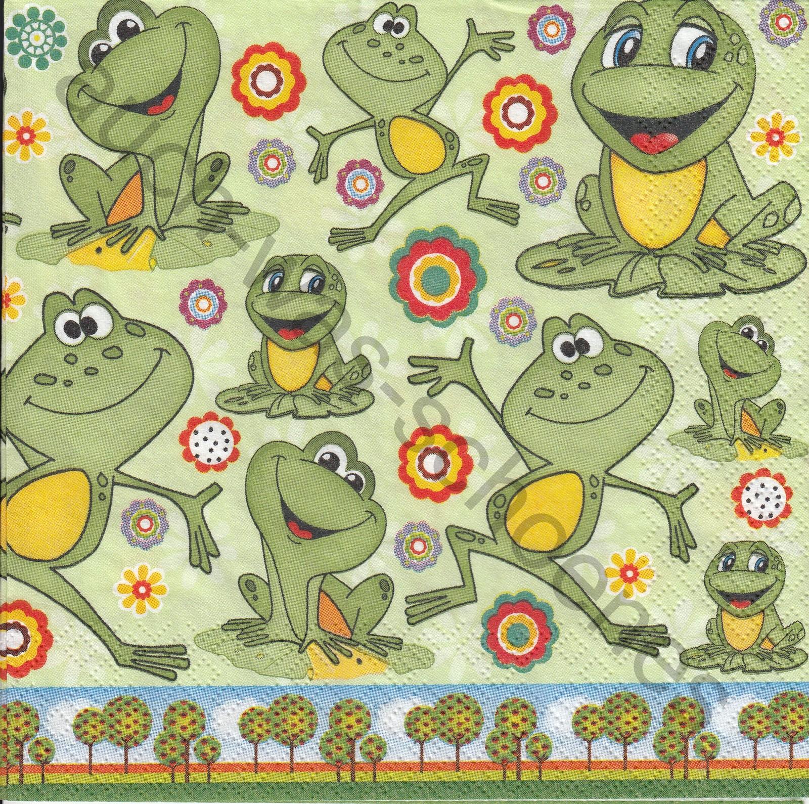 Servietten Basteln Sammeln Lustige Frösche Comic Frosch