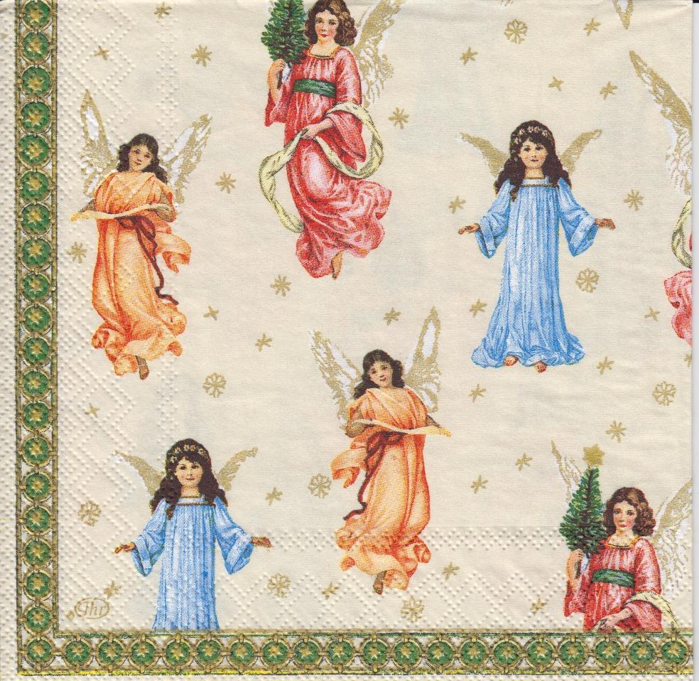 5 Servietten Herald Angels creme IHR