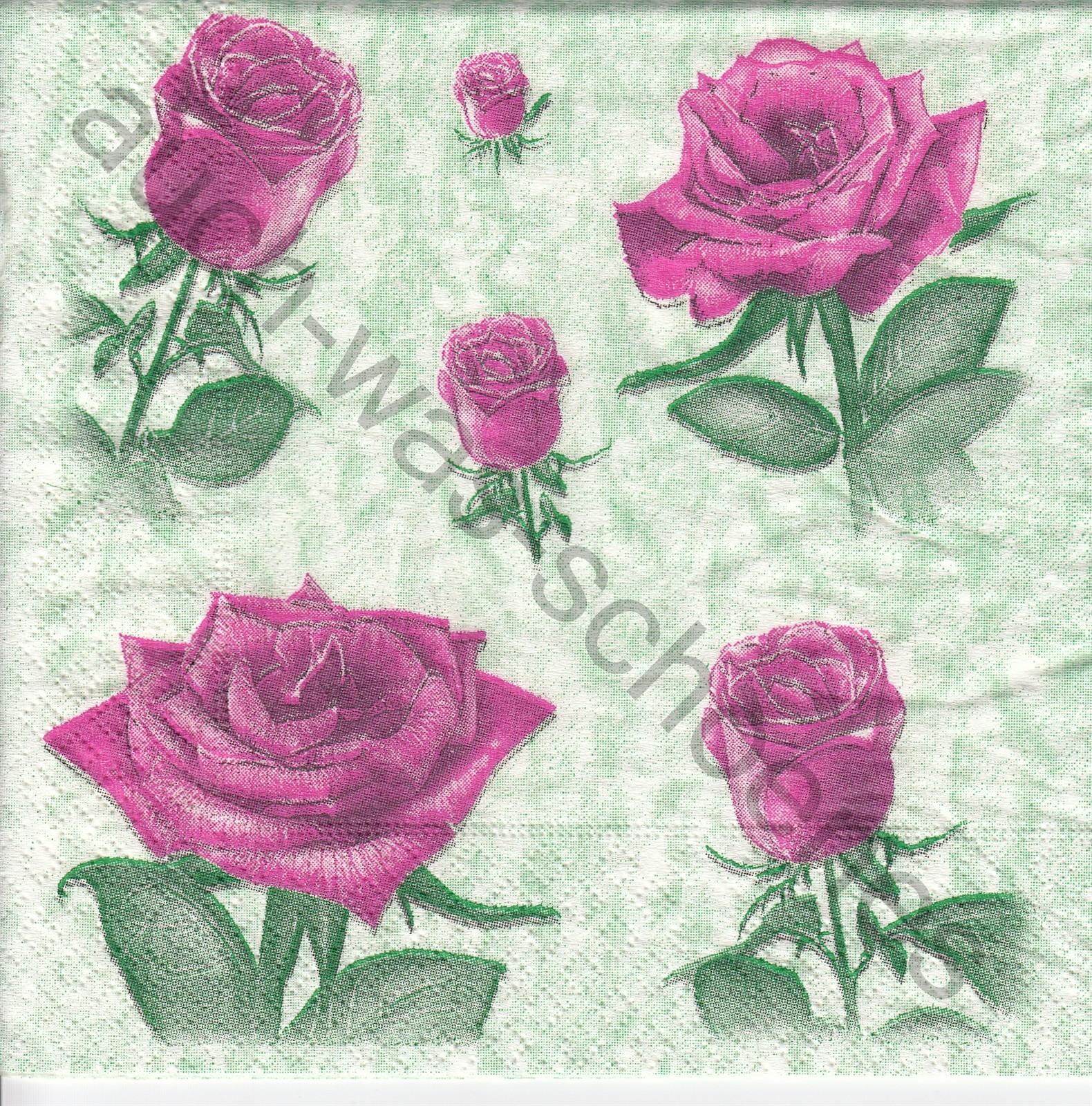 Servietten basteln sammeln - Rosenblüten - Rosen - Vintage - Blumen ...