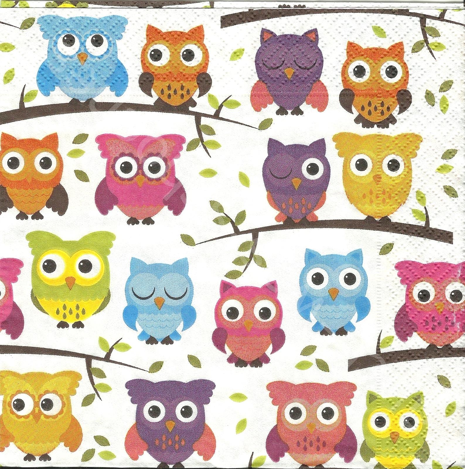 Servietten Basteln Sammeln Viele Bunte Eulen Owls Hibou