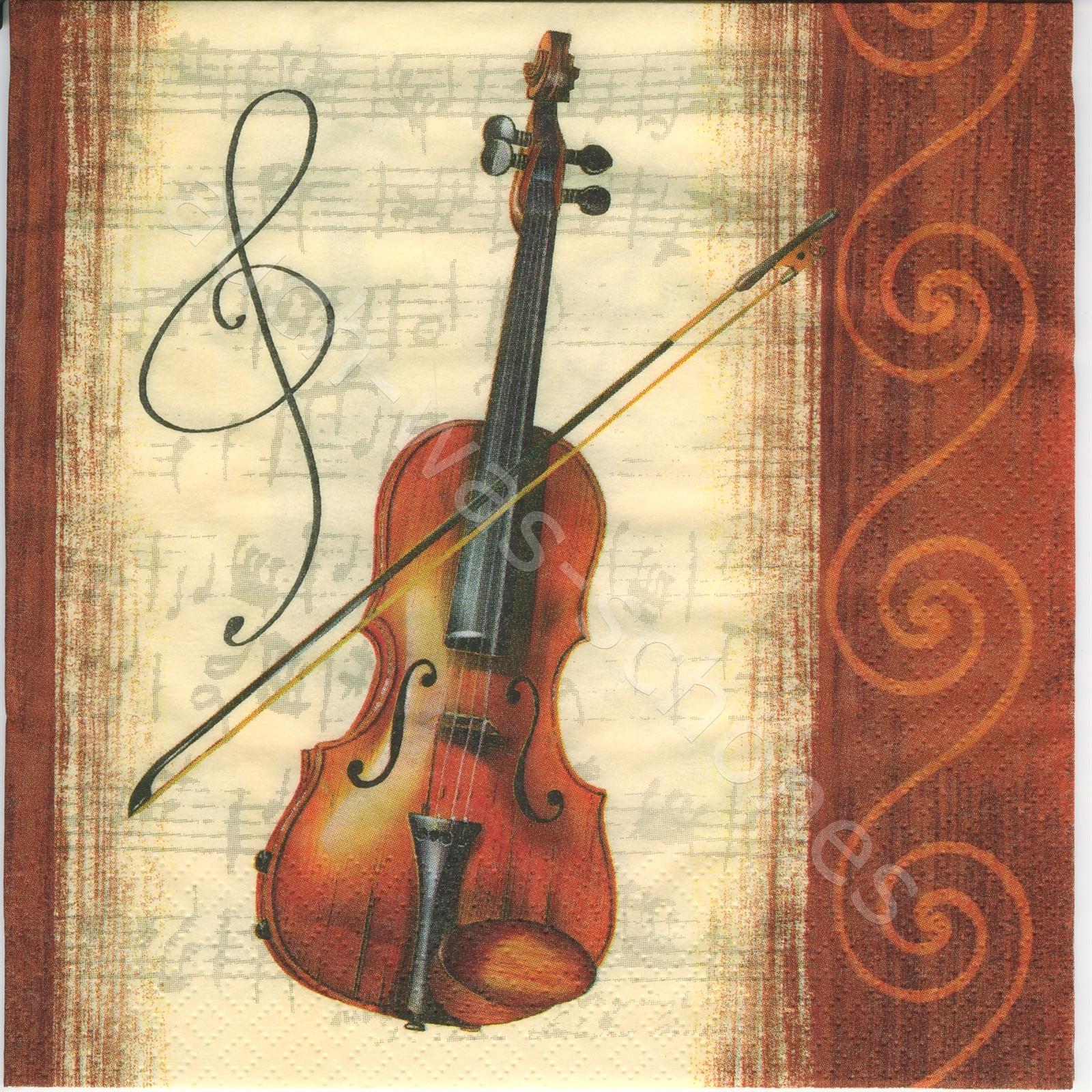 Servietten basteln sammeln - Musik - Instrumente - Noten - Geige ...