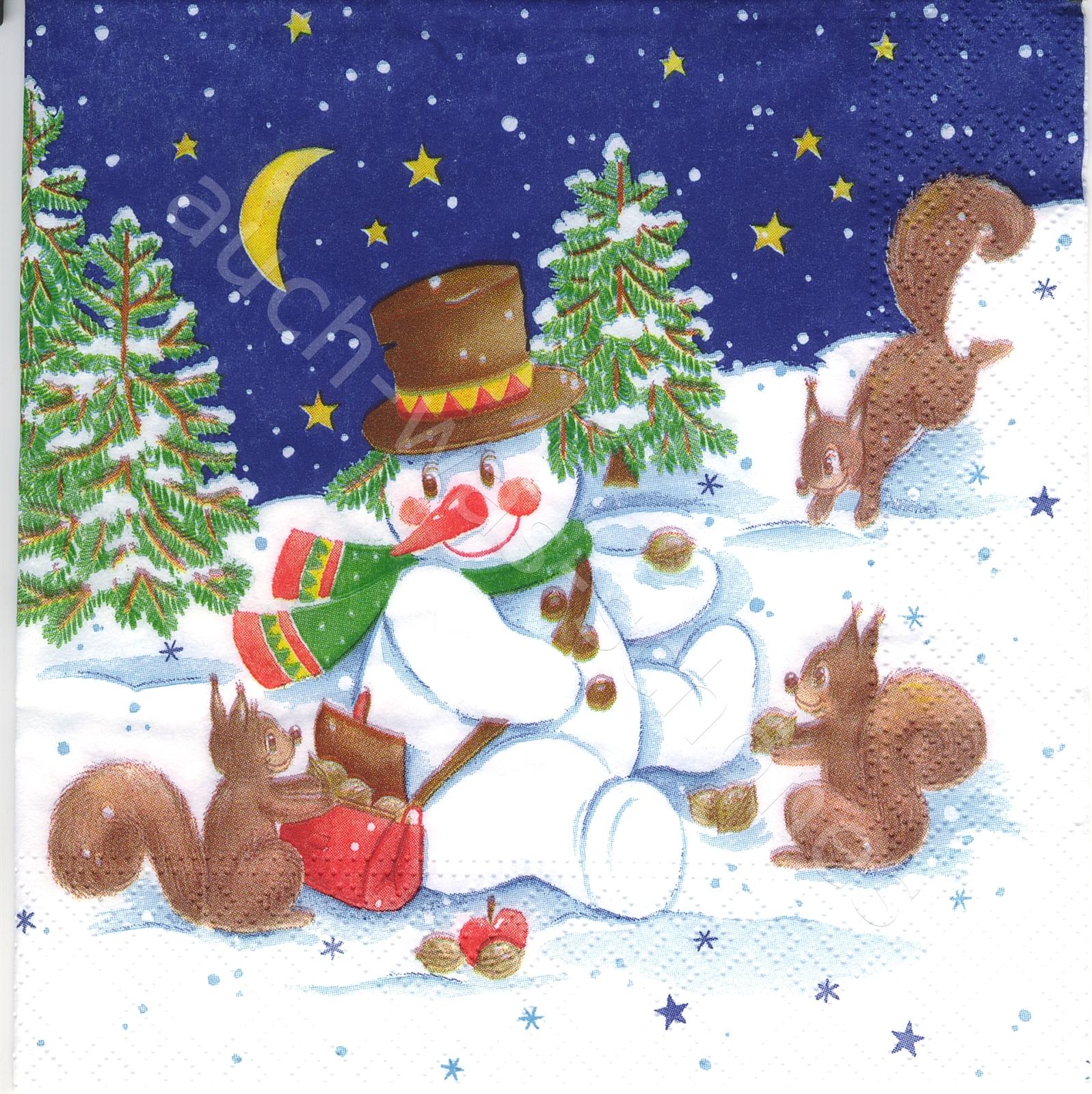 Servietten Basteln Sammeln Schneemann Tiere Winter Snow