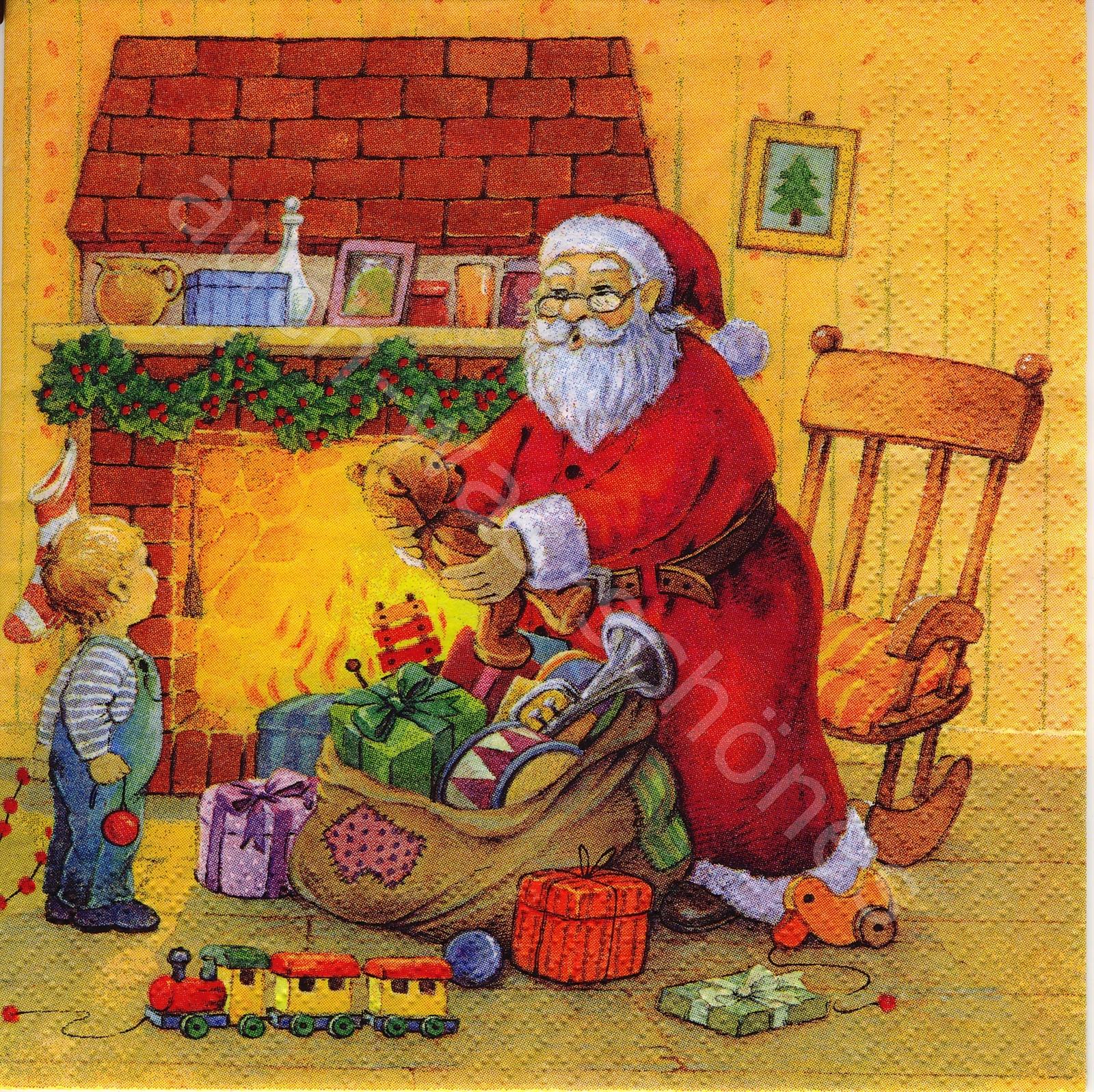 Weihnachten Nostalgisch.Serviette Santa Claus Kinder Weihnachten Nostalgie Wn071