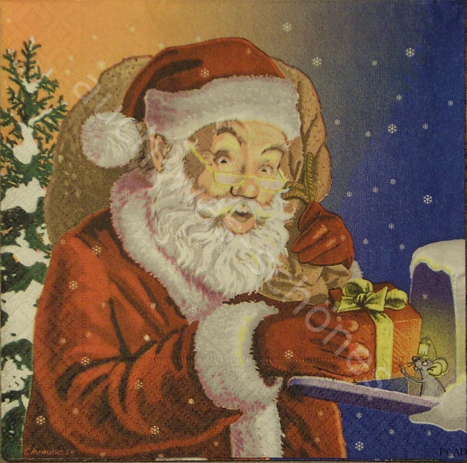 Servietten Basteln Sammeln Serviette Santa Claus Mit Geschenk