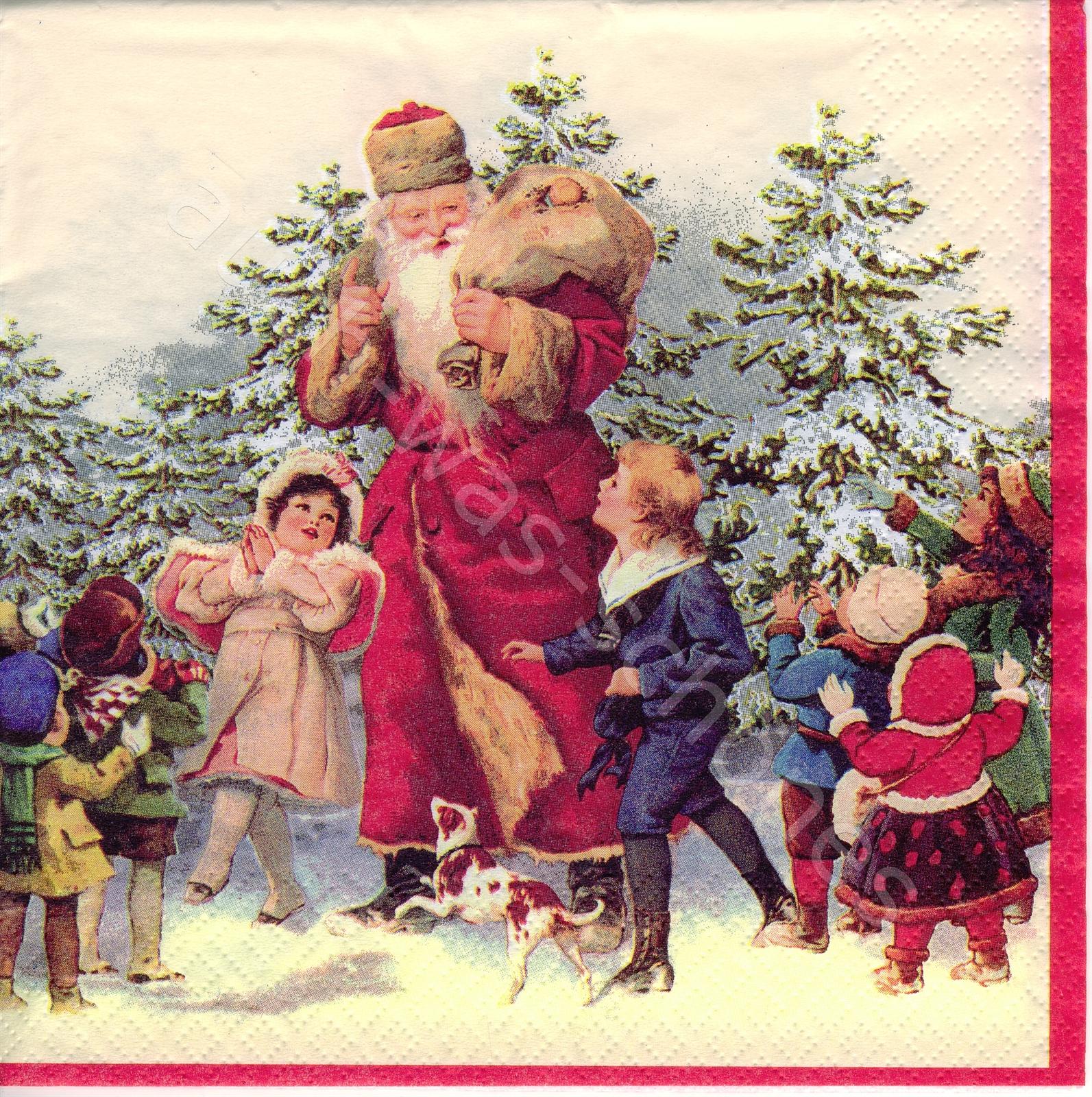 Weihnachten Nostalgisch.Santa Claus Kinder Wald Weihnachten Nostalgie Wn185