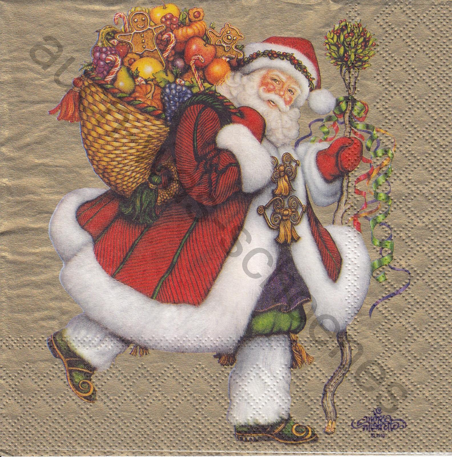 Servietten Basteln Sammeln Santa Claus Mit Geschenken
