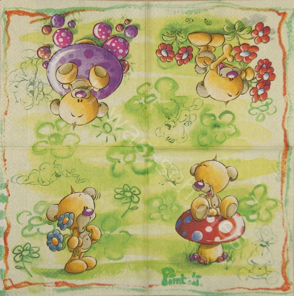 Serviette - Pimboli - Teddy - Comic - Bär - ganzes Motiv - co040